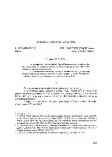 Zakon grada Kastva iz 1400 / Lujo Margetić