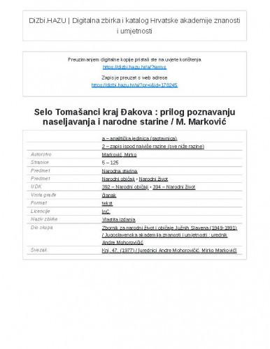 Selo Tomašanci kraj Đakova : prilog poznavanju naseljavanja i narodne starine / M. Marković