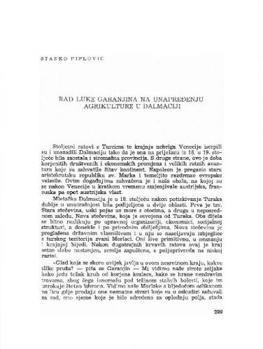 Rad Luke Garanjina na unapređenju agrikulture u Dalmaciji / Stanko Piplović