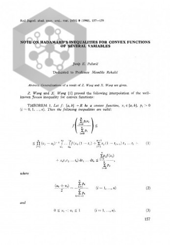 Note on Hadamard's inequalities for convex functions of several variables / J. Pečarić