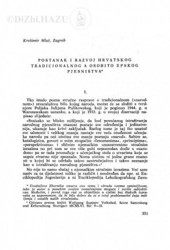 Postanak i razvoj hrvatskog tradicionalnog a osobito epskog pjesništva / K. Mlač