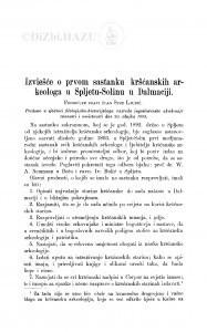Izviešće o prvom sastanku kršćanskih arkeologa u Spljetu-Solinu u Dalmaciji / S. Ljubić