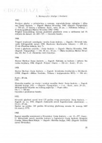 Popis radova Josipa Andreisa
