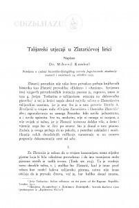 Talijanski utjecaji u Zlatarićevoj lirici / M. Kombol
