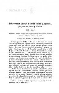 Dubrovčanin Marko Faustin Galuf (Gagliuffi), posedńi naš znatniji latinist : (1765-1834.) / Đ. Körbler
