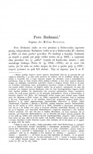 Pero Budmani : [nekrolog] / M. Rešetar