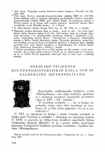 Nekoliko vrijednih kulturnohistorijskih djela XVII st. zagrebačke