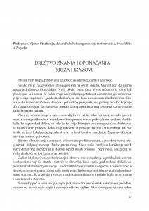 Društvo znanja i oponašanja - kriza i izazovi : [uvodno izlaganje] / Vjeran Strahonja