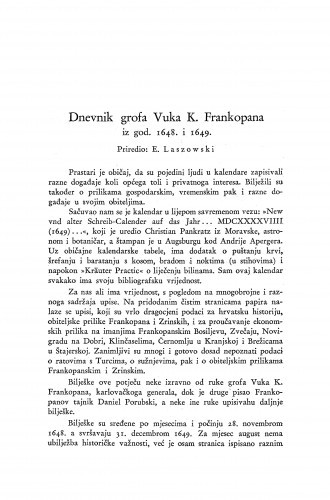 Dnevnik grofa Vuka K. Frankopana iz god. 1648. i 1649. / priredio Emilije Laszowski