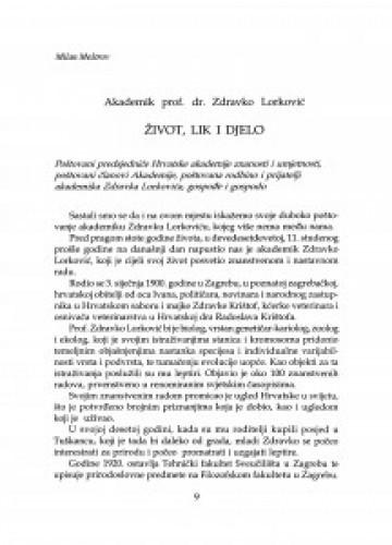 Akademik prof. dr. Zdravko Lorković : život, lik i djelo