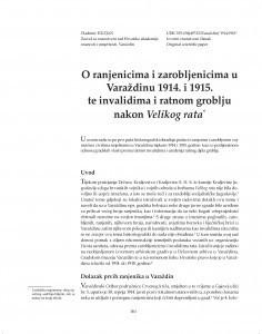 O ranjenicima i zarobljenicima u Varaždinu 1914. i 1915. te invalidima i ratnom groblju nakon Velikog rata / Vladimir Huzjan