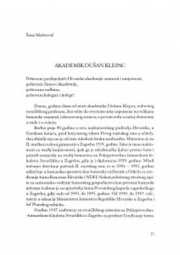 Akademik Dušan Klepac / Šime Meštrović