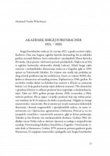 Akademik Sergej Forenbacher : 1921.-2010. / Teodor Wikerhauser