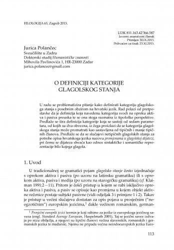 O definiciji kategorije glagolskog stanja / Jurica Polančec