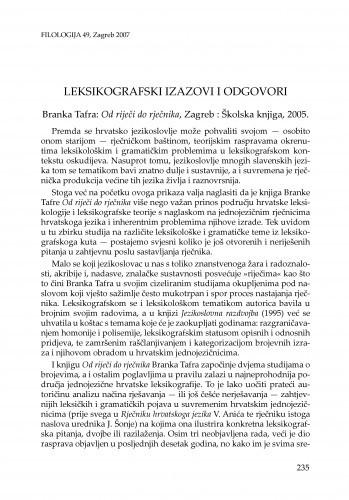 Leksikografski izazovi i odgovori : Branka Tafra: Od riječi do rječnika, Zagreb : Školska knjiga, 2005. : [prikaz] / Maja Bratanić