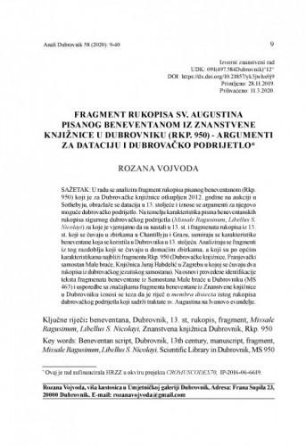 Fragment rukopisa sv. Augustina pisanog beneventanom iz znanstvene knjižnice u Dubrovniku (rkp. 950) - argumenti za dataciju i dubrovačko podrijetlo / Rozana Vojvoda