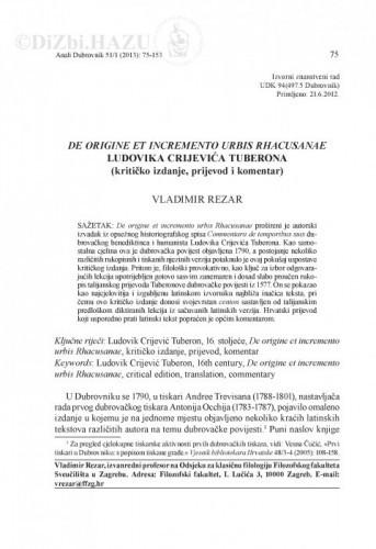 De origine et incremento urbis Rhacusanae Ludovika Crijevića Tuberona : (kritičko izdanje, prijevod i komentar) / Vladimir Rezar