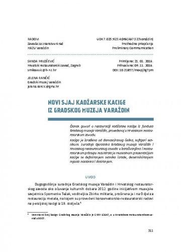 Novi sjaj kadžarske kacige iz Gradskog muzeja Varaždin / Sanda Milošević, Jelena Rančić