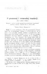 O prostornoj i vremenskoj translaciji / S. Mohorovičić