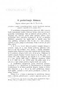 O predočivanju distanca / V. Varićak