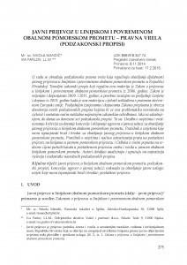 Javni prijevoz u linijskom i povremenom obalnom pomorskom prometu - pravna vrela (podzakonski propisi) / Nikola Mandić ; Iva Parlov