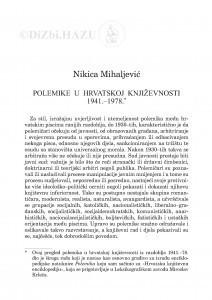 Polemike u hrvatskoj književnosti : 1941.-1978. / Nikica Mihaljević