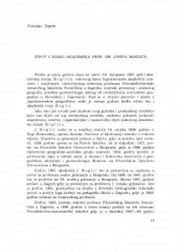 Život i djelo akademika prof. dr. Josipa Roglića