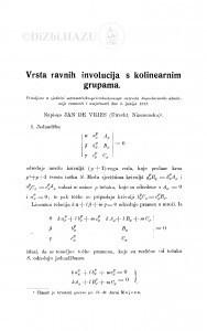 Vrsta ravnih involucija s kolinearnim grupama / J. de Vries