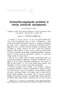Aritmetičko-algebarski problemi iz teorije izbrojivih vjerojatnosti / M. Kiseljak