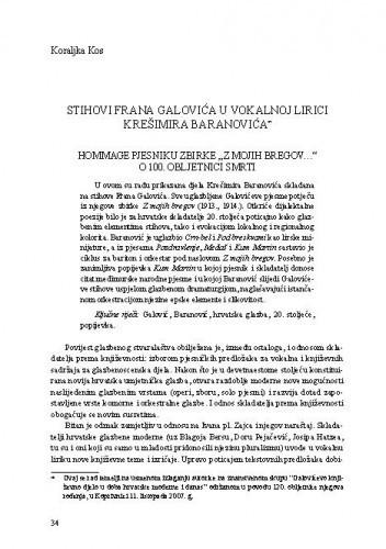 Stihovi Frana Galovića u vokalnoj lirici Krešimira Baranovića : hommage pjesniku zbirke