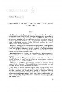 Kaloričko podraživanje vestibularnog aparata / B. Milojević