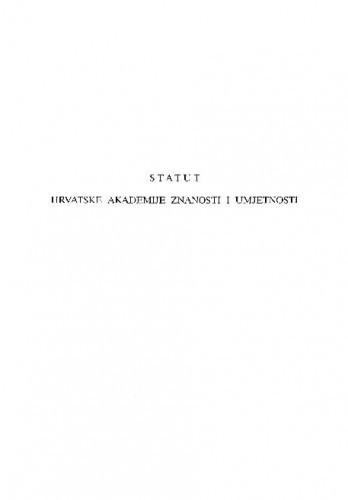 Statut Hrvatske akademije znanosti i umjetnosti