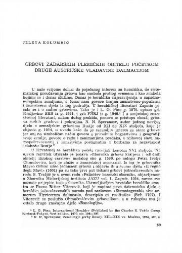 Grbovi zadarskih plemićkih obitelji početkom druge austrijske vladavine Dalmacijom / Jelena Kolumbić