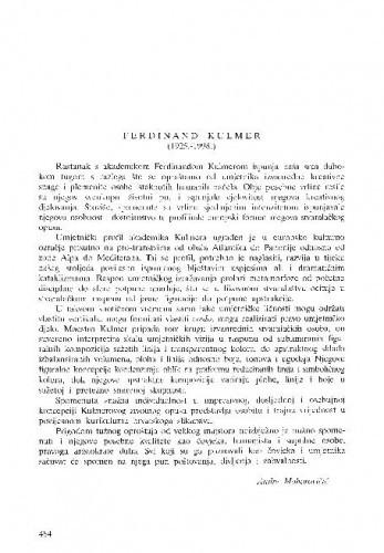 Ferdinand Kulmer (1295.-1998.) / Andre Mohorovičić