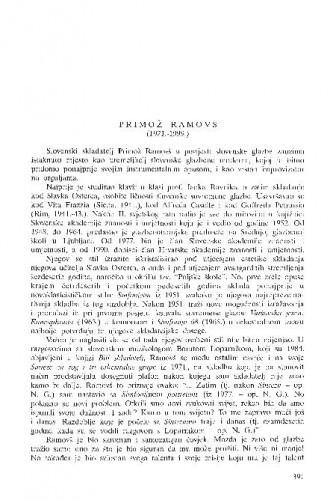 Primož Ramovš (1921.-1999.) / Nikša Gligo
