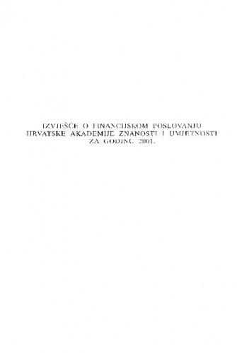Izvješće o financijskom poslovanju Hrvatske akademije znanosti i umjetnosti za godinu 2001.
