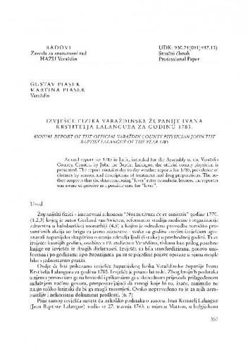Izvješće fizika Varaždinske županije Ivana Krstitelja Lalanguea za godinu 1785. / Gustav Piasek, Martina Piasek