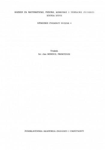 Rad Jugoslavenske akademije znanosti i umjetnosti. Razred za matematičke, fizičke, kemijske i tehničke znanosti / urednik Mihovil Proštenik