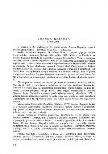 Joanna Rapacka (1939.-2000.) / Dunja Fališevac
