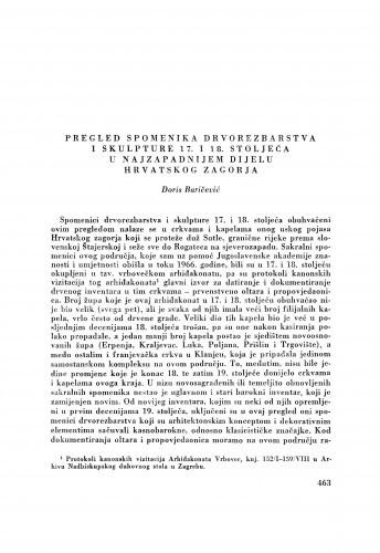 Pregled spomenika drvorezbarstva i skulpture 17. i 18. stoljeća u najzapadnijem dijelu Hrvatskog zagorja / D. Baričević