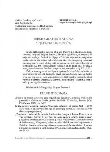 Bibliografija Stjepana Đakovića / Ankica Landeka