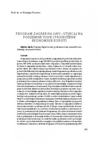 Program Zagreb na Savi – utjecaj na podzemne vode i pridružene ekonomske koristiKristijan Posavec
