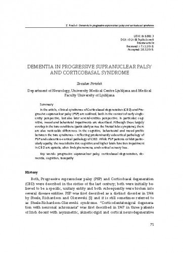 Dementia in progressive supranuclear palsy and corticobasal syndrome / Zvezdan Pirtošek