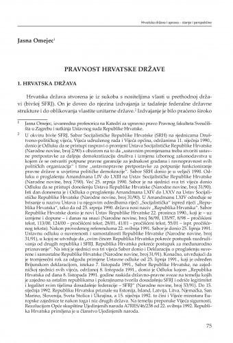 Pravnost hrvatske države : [strateške zadaće] / Jasna Omejec