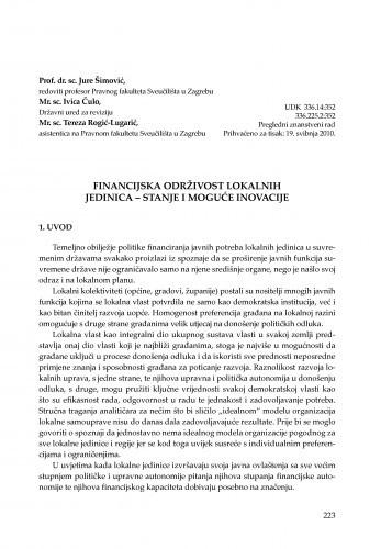 Financijska održivost lokalnih jedinica - stanje i moguće inovacije : [uvodno izlaganje] / Jure Šimović, Ivica Čulo, Tereza Rogić-Lugarić
