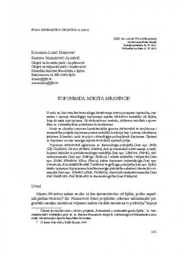 Toponimija mjesta Mravince / Katarina Lozić Knezović, Marina Marasović-Alujević