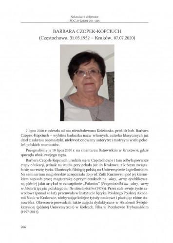 Barbara Czopek-Kopciuch (Częstochowa, 31.05.1952 – Kraków, 07.07.2020) : in memoriam / Urszula Bijak