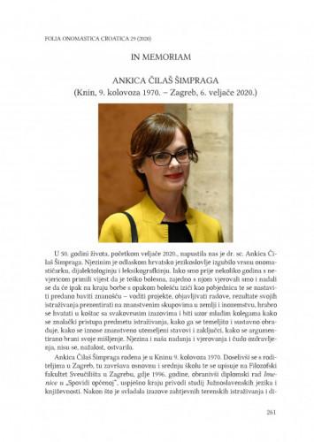 Ankica Čilaš Šimpraga (Knin, 9. kolovoza 1970. – Zagreb, 6. veljače 2020.) : in memoriam / Anđela Frančić