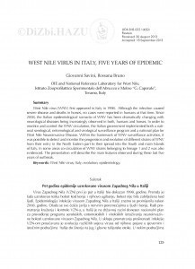 West Nile virus in Italy, five years of epidemic : [summary] / Giovanni Savini, Rossana Bruno