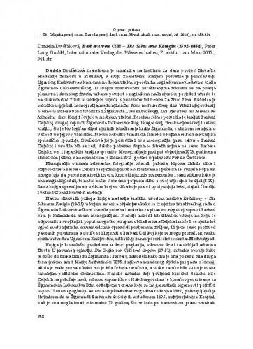 Daniela Dvořáková, Barbara von Cilli – Die Schwarze Königin (1392-1451), Peter Lang GmbH, Internationaler Verlag der Wissenschaften, Frankfurt am Main 2017. : [prikaz] / Sara Katanec